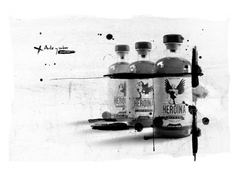 Presentación de las tres botellas de aceite de la marca heroína diseñada por Garaje Gráfico