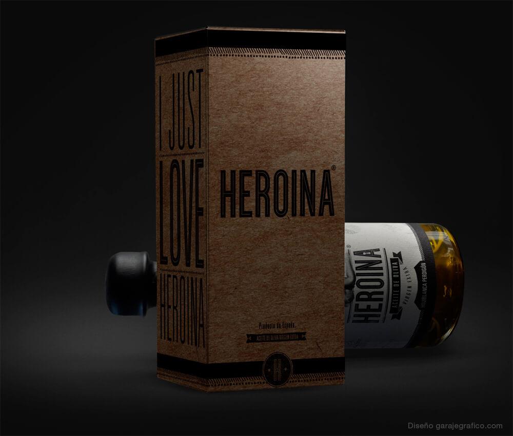 Caja y botella Cristal de nuestro aceite Heroína. Para que todo quede a la vista y bien protegido.