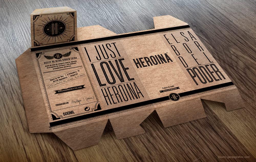 Estuche de nuestras botellas Heroina realizado en cartón Kraft ecológico.