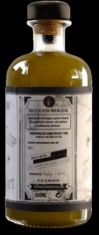 Botella de aceite de oliva con diseño realizado por Garaje Gráfico